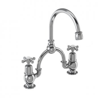Burlington Claremont 2-Hole Arch Basin Mixer Tap Chrome - 230mm Centres
