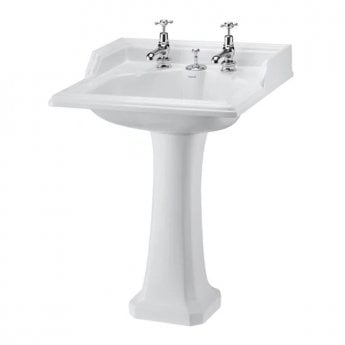 Burlington Classic Invisible Overflow Basin with Full Pedestal, 650mm Wide, 2 Tap Hole