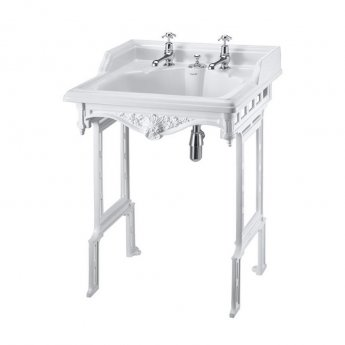 Burlington Classic Invisible Overflow Basin with White Wash Stand, 650mm Wide, 2 Tap Hole