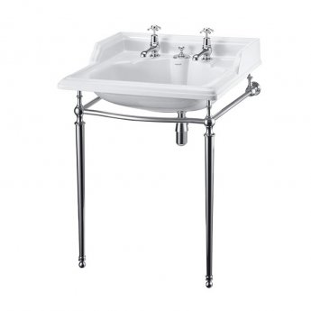 Burlington Classic Invisible Overflow Basin with Chrome Wash Stand, 650mm Wide, 2 Tap Hole
