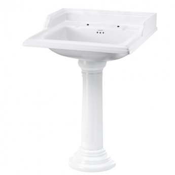 Burlington Classic Basin with Full Regal Pedestal, 650mm Wide, 2 Tap Hole