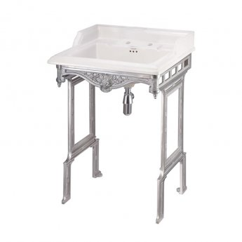 Burlington Classic Basin with Aluminium Wash Stand, 650mm Wide, 2 Tap Hole