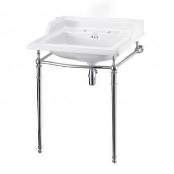 Burlington Classic Basin with Regal Chrome Wash Stand, 650mm Wide, 2 Tap Hole