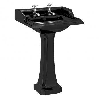 Burlington Classic Basin with Full Pedestal 650mm Wide 2 TH - Black