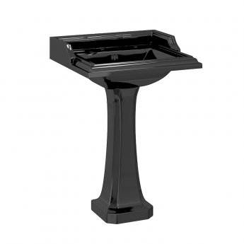 Burlington Classic Basin with Full Pedestal 650mm Wide 3 TH - Black