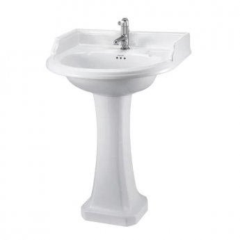 Burlington Classic Round Basin with Full Pedestal, 650mm Wide, 1 Tap Hole