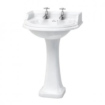 Burlington Classic Round Basin with Full Pedestal, 650mm Wide, 2 Tap Hole