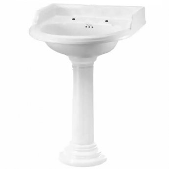 Burlington Classic Round Basin with Full Regal Pedestal, 650mm Wide, 2 Tap Hole