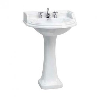 Burlington Classic Round Basin with Full Pedestal, 650mm Wide, 3 Tap Hole