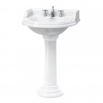 Burlington Classic Round Basin with Full Regal Pedestal, 650mm Wide, 3 Tap Hole