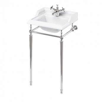 Burlington Classic Square Basin with Chrome Wash Stand 500mm Wide - 1 Tap Hole