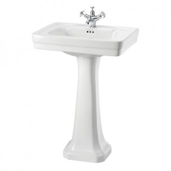 Burlington Contemporary Basin with Full Pedestal, 580mm Wide, 1 Tap Hole