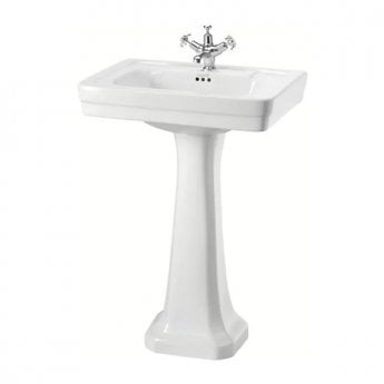 Burlington Contemporary Basin with Regal Full Pedestal, 580mm Wide, 1 Tap Hole