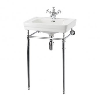 Burlington Contemporary Basin with Chrome Wash Stand, 580mm Wide, 1 Tap Hole
