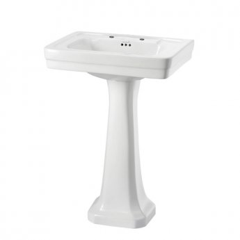 Burlington Contemporary Basin with Full Pedestal, 580mm Wide, 2 Tap Hole