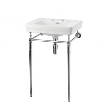 Burlington Contemporary Basin with Regal Chrome Wash Stand, 580mm Wide, 2 Tap Hole
