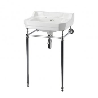 Burlington Contemporary Basin with Chrome Wash Stand, 580mm Wide, 2 Tap Hole