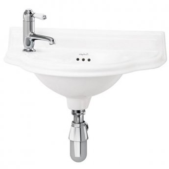 Burlington Curved Wall Hung Cloakroom Basin, 510mm Wide, LH Tap Hole