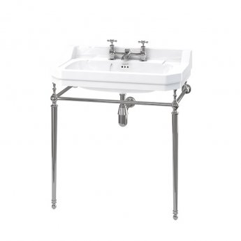 Burlington Edwardian Basin with Chrome Wash Stand, 800mm Wide, 2 Tap Hole