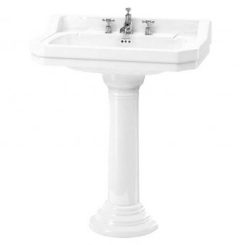 Burlington Edwardian Basin with Regal Full Pedestal, 800mm Wide, 3 Tap Hole