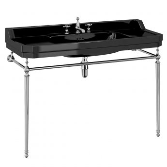 Burlington Edwardian Basin 1200mm Wide 3TH with Chrome Wash Stand - Black