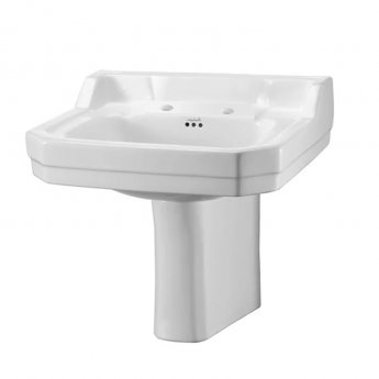 Burlington Edwardian Basin with Semi Pedestal, 560mm Wide, 2 Tap Hole