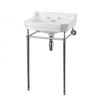 Burlington Edwardian Basin with Chrome Wash Stand, 560mm Wide, 2 Tap Hole