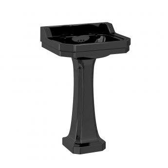 Burlington Edwardian Basin with Full Pedestal 560mm Wide 2 TH - Black