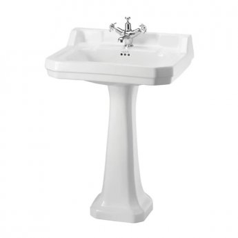 Burlington Edwardian Basin with Full Pedestal, 610mm Wide, 1 Tap Hole