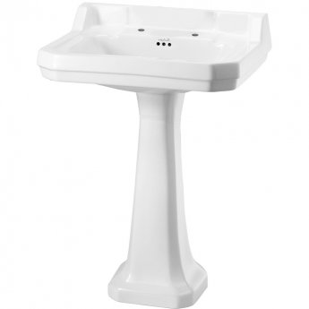 Burlington Edwardian Basin with Regal Full Pedestal, 610mm Wide, 2 Tap Hole