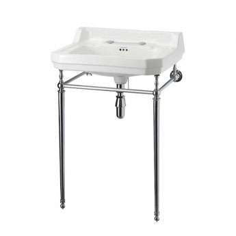 Burlington Edwardian Basin with Chrome Wash Stand, 610mm Wide, 2 Tap Hole
