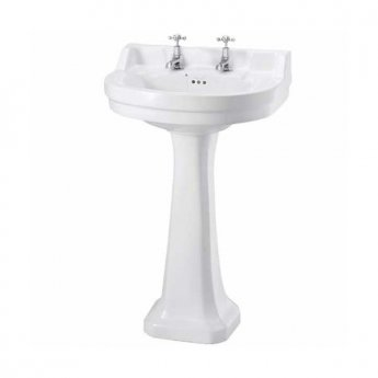 Burlington Edwardian Round Basin with Full Pedestal, 560mm Wide, 2 Tap Hole