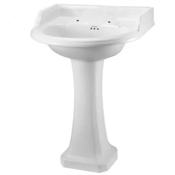 Burlington Edwardian Round Basin with Regal Full Pedestal, 560mm Wide, 2 Tap Hole
