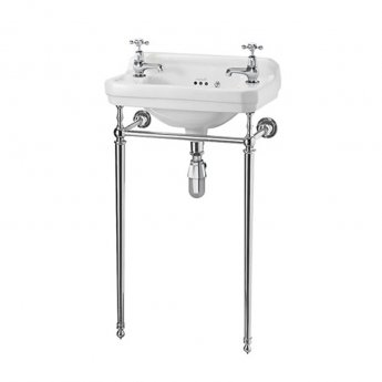 Burlington Edwardian Rectangular Basin with Chrome Wash Stand, 515mm Wide, 2 Tap Hole