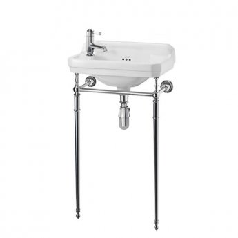 Burlington Edwardian Rectangular Basin with Regal Chrome Wash Stand, 515mm Wide, LH Tap Hole