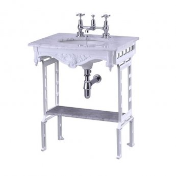 Burlington Georgian Marble Basin with White Wash Stand and Shelf, 650mm Wide, 1 Tap Hole