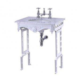 Burlington Georgian Marble Basin with White Wash Stand, 650mm Wide, 1 Tap Hole