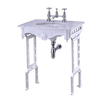 Burlington Georgian Marble Basin with White Wash Stand, 650mm Wide, 2 Tap Hole