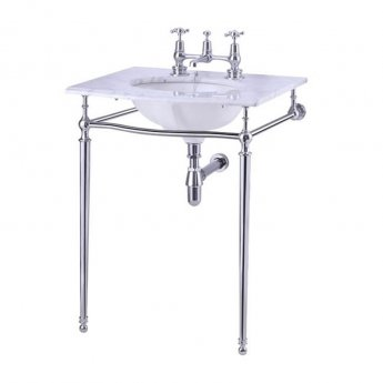 Burlington Georgian Marble Basin with Chrome Wash Stand, 650mm Wide, 2 Tap Hole