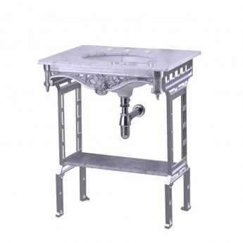 Burlington Georgian Marble Basin with Aluminium Wash Stand and Shelf, 650mm Wide, 3 Tap Hole