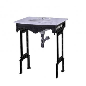 Burlington Georgian Marble Basin with Black Wash Stand, 650mm Wide, 3 Tap Hole
