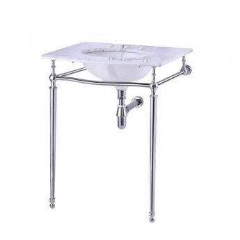 Burlington Georgian Marble Basin with Regal Chrome Wash Stand, 650mm Wide, 3 Tap Hole