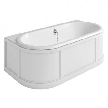 Burlington London Back to Wall Surround Acrylic Bath 1800mm x 950mm - Matt White