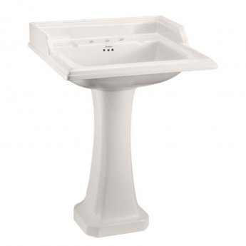 Burlington Medici Classic Square 3 TH Basin with Full Pedestal 650mm Wide - Ivory