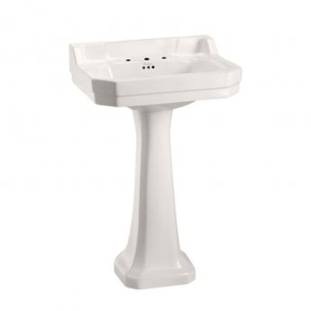 Burlington Medici 3 TH Basin with Full Pedestal 560mm Wide - Ivory