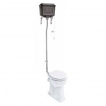Burlington Regal High Level Toilet Black Aluminium Cistern - Excluding Seat