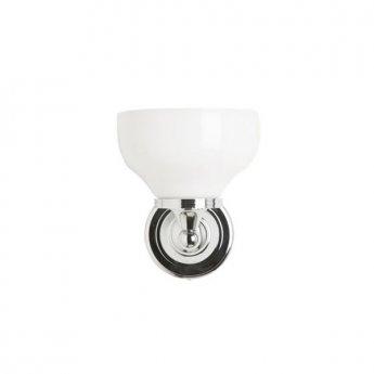 Burlington Round Bathroom Light, 217mm High x 170mm Wide, Chrome/Frosted Glass