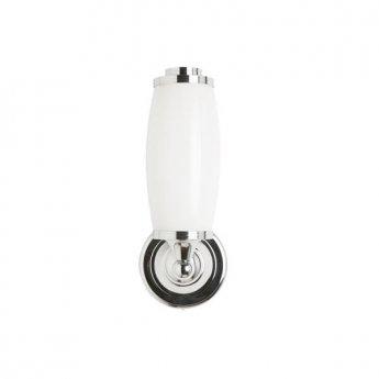 Burlington Round Bathroom Light, 300mm High x 116mm Wide, Chrome/Frosted Glass