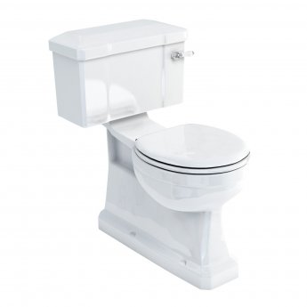 Burlington S-Trap Close Coupled Toilet Deep Ceramic Lever Cistern with Vertical Outlet - Excluding Seat