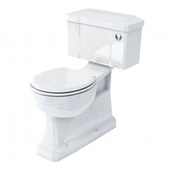 Burlington S-Trap Close Coupled Toilet Slimline Push Button Cistern with Vertical Outlet - Excluding Seat